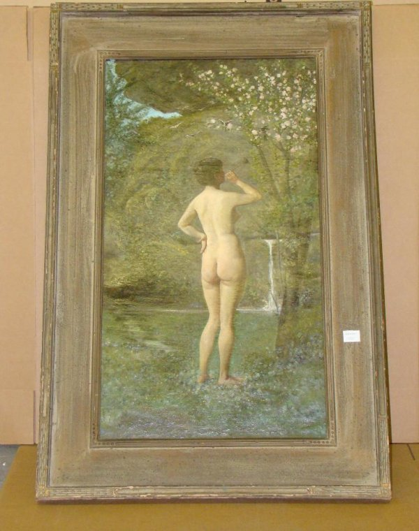 2013: NUDE. AMERICAN SCHOOL PAINTING. UNSIGNED.
