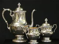 2356 STERLING SILVER 3 PC TEA SET BY POOLE