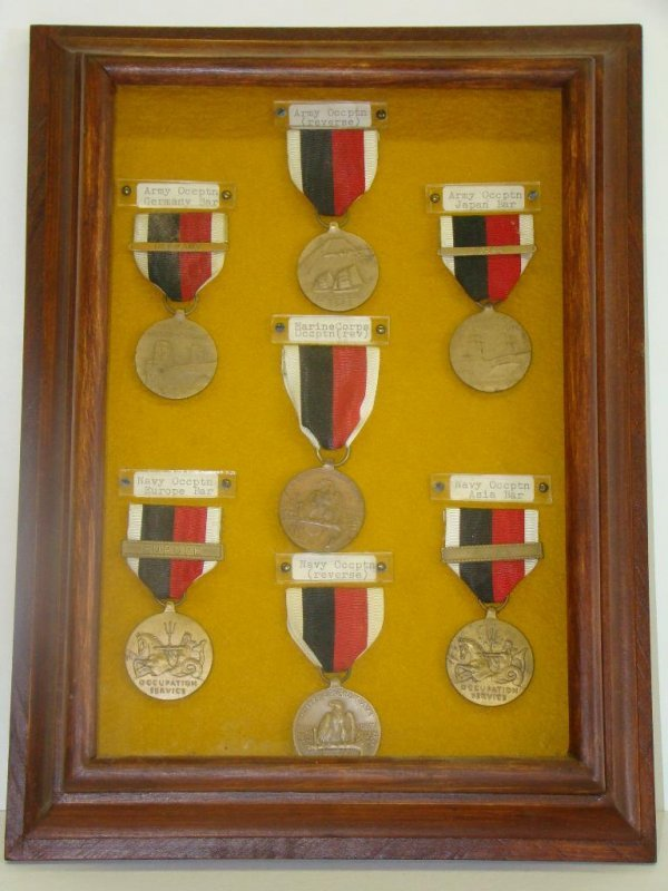 4022: FRAMED COLLECTION OF MILITARY OCCUPIED MEDALS
