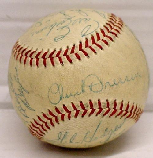 5: CIRCA 1952 BROOKLYN DODGERS SIGNED TEAM BASEBALL..