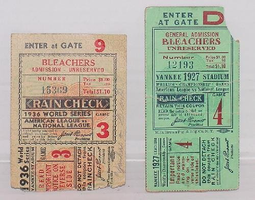 7: LOT OF 2 WORLD SERIES TICKET STUBS. 1927 AND 1936.