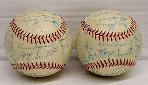 14: PAIR OF MID 1950'S PHILLIES SIGNED TEAM BALLS