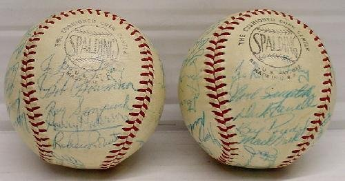 14: PAIR OF MID 1950'S PHILLIES SIGNED TEAM BALLS - 2