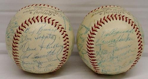 14: PAIR OF MID 1950'S PHILLIES SIGNED TEAM BALLS - 3