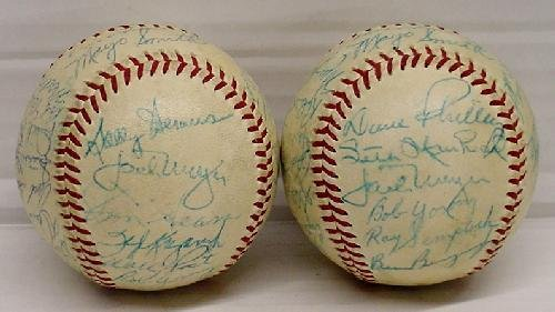 14: PAIR OF MID 1950'S PHILLIES SIGNED TEAM BALLS - 5