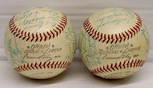 14: PAIR OF MID 1950'S PHILLIES SIGNED TEAM BALLS - 6
