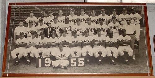 198: HUGE FRAMED 1955 BROOKLYN DODGERS PHOTO.