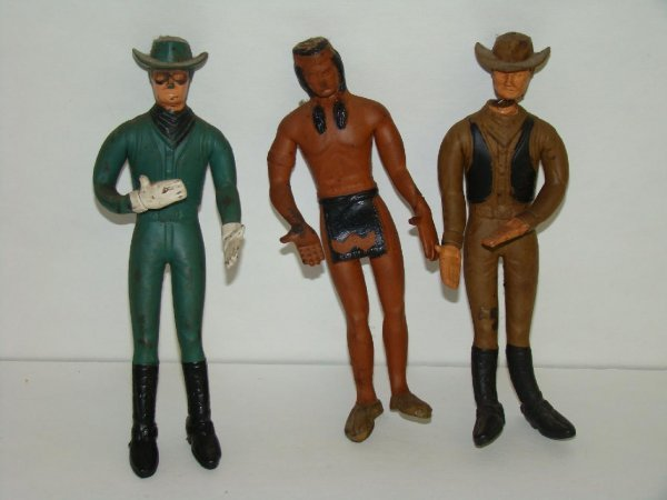 1001: LOT OF THREE 1966 WESTERN RUBBER FIGURES