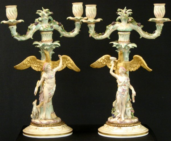 2: LOT OF 2 MEISSEN 19TH CENTURY CANDLEABRA