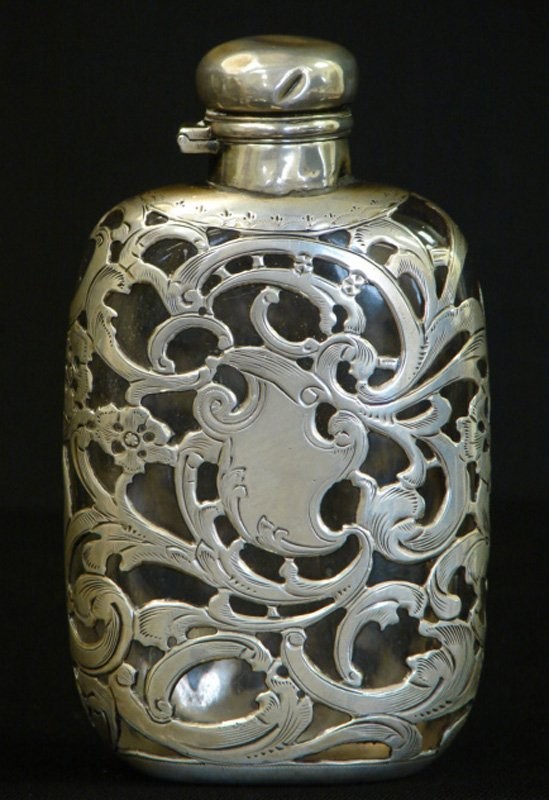 5: ANTIQUE HAND CHASED SILVER OVERLAY FLASK