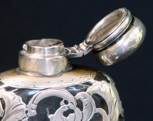 5: ANTIQUE HAND CHASED SILVER OVERLAY FLASK - 4
