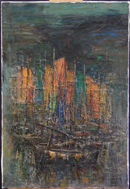 12: LUC VIRGIER OIL IMPRESSIONIST SAIL BOATS '59