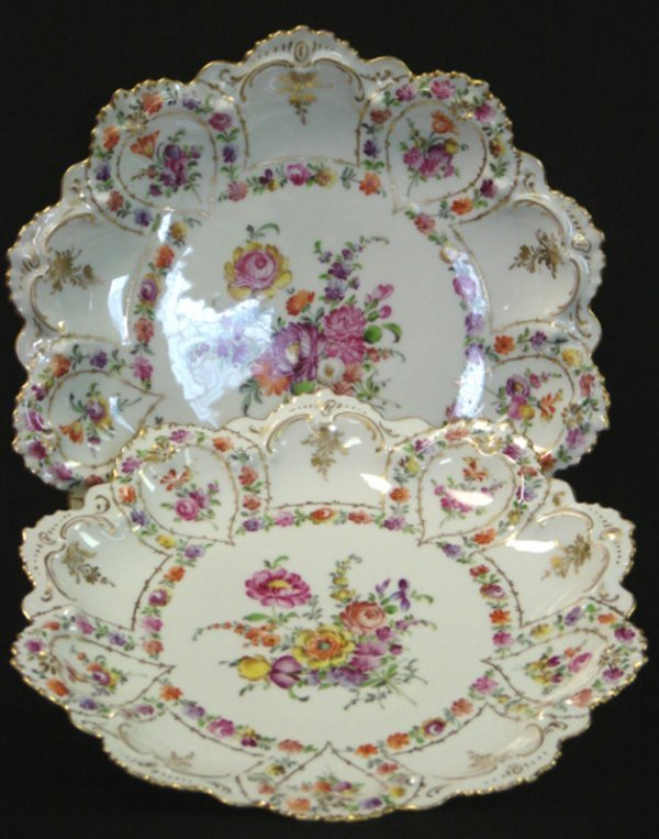 41: 2 VINTAGE DRESDEN CHINA HANDPAINTED PLATES