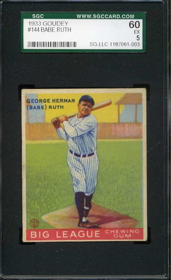 1013: 1933 Goudey Graded Ruth.