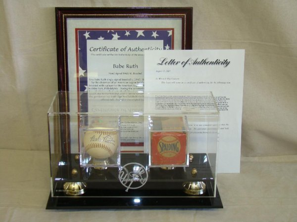 1204: Babe Ruth Single Signed PSA 9 Baseball