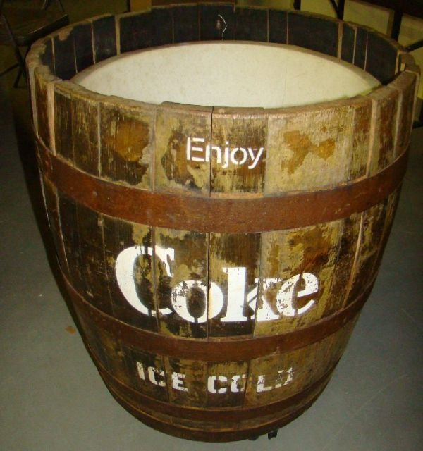 4402: Wooden Barrel Coca-Cola Ice Cooler