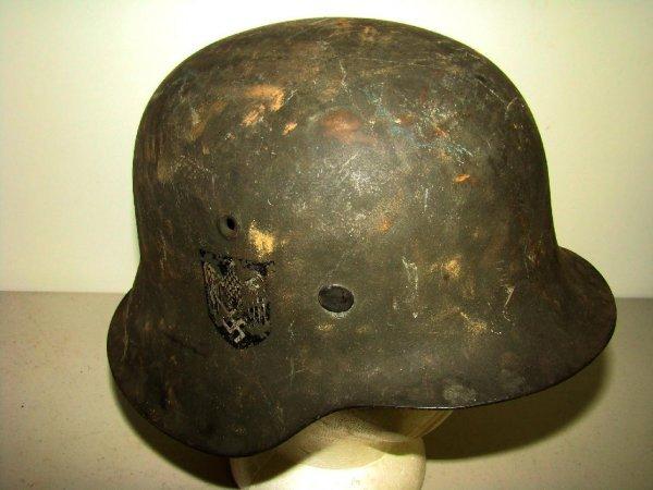 13: Vintage German Double Decal WWII Helmet