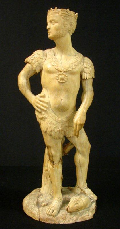 1002: ANTIQUE GRECO-ROMAN STYLE IVORY FIGURE