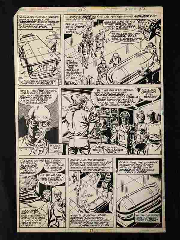 1977 Incredible Hulk #213 Comic Art Page