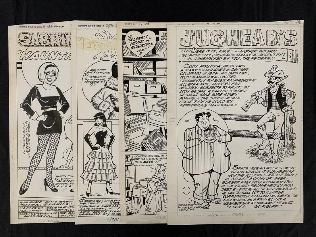 Archie Publications Lot of Four Pages.