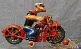 Nice Original Hubley Popeye on Motorcycle