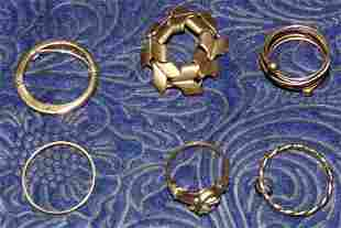 Group of 14 K Yellow Gold Rings.