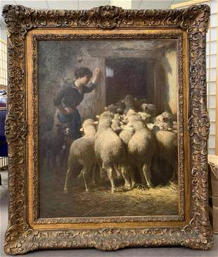 Charles Clair (1860 - 1930) O/C Sheep in Barn