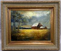 """John Foote, """"Change in the Weather"""" Oil on Canvas"""