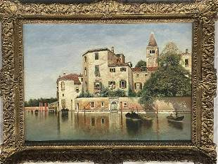 """Henry Pember Smith """"Venetian Scene"""", Oil on Canvas"""