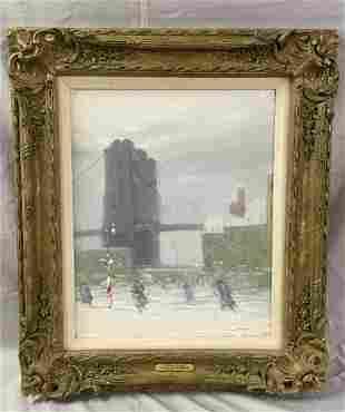 """Johann Berthelsen, """"Brooklyn Bridge"""" Oil on Canvas"""