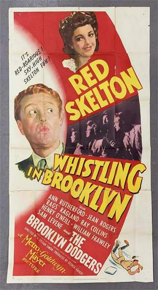 """1943 """"Whistling in Brooklyn"""" 3 Sheet Movie Poster"""