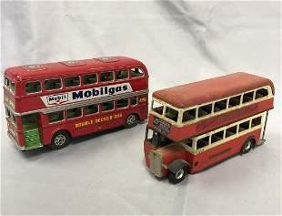 2 Tin Double Decker Busses
