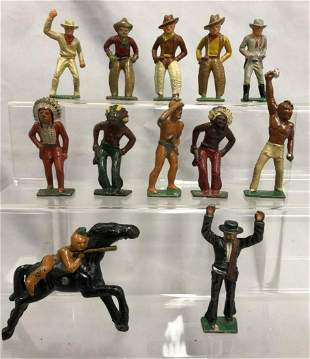 12 Gray Iron Dimestore Cowboys & Indians