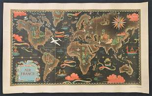 Air France Planisphere Map Travel Poster, Boucher