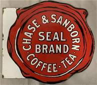Chase & Sanborn Coffee Tea Porcelain Flange Sign
