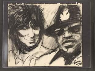 Ron Wood Original Art Self Portrait w/ Bo Diddley