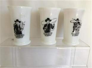 Hopalong Cassidy. Set of Three Milk Glasses.