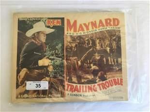 Ken Maynard. Trailing Trouble. Lobby Card Set.