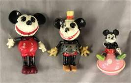 3 Celluloid Mickey & Minnie Figures