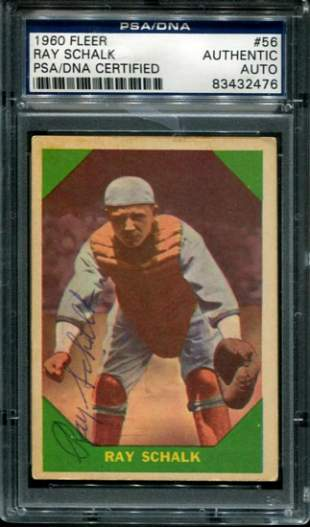 1960 Ray Schalk Fleer Card Signed PSA.