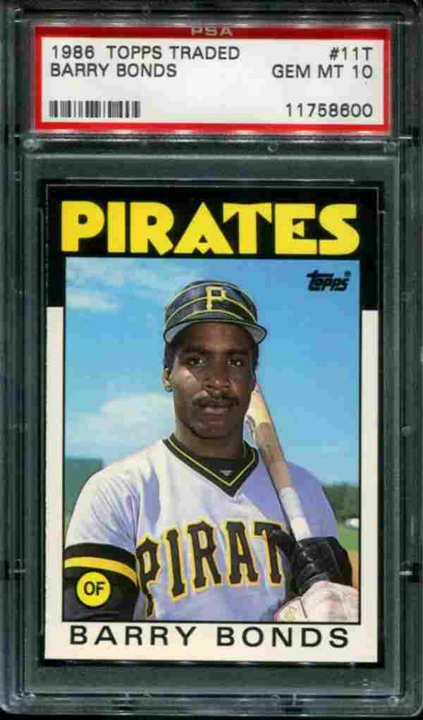 1986 Topps Traded Barry Bonds PSA Graded.