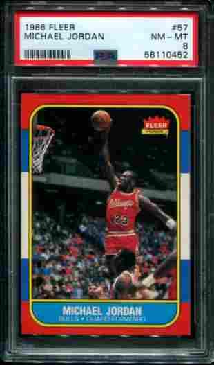 Michael Jordan. 1986 Fleer #57 Rookie PSA Graded.