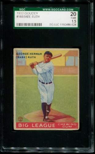 1933 Goudey Babe Ruth #144. SGC Graded.