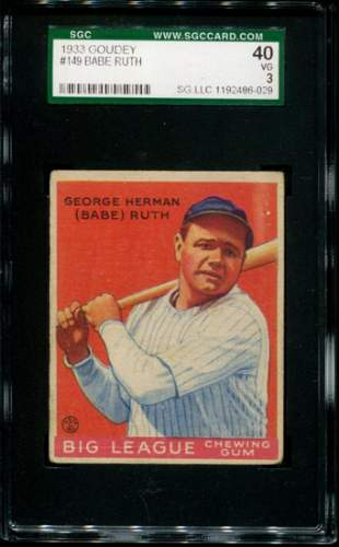 1933 Goudey Babe Ruth #149. SGC Graded.