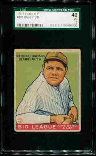 1933 Goudey Babe Ruth #181. SGC Graded.