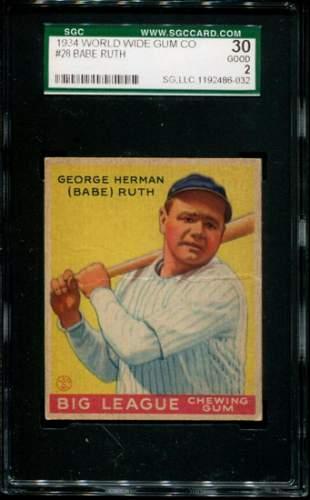 1934 Goudey Babe Ruth #28. SGC Graded.