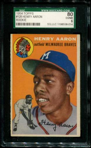 1954 Topps Henry Aaron Rookie Graded.