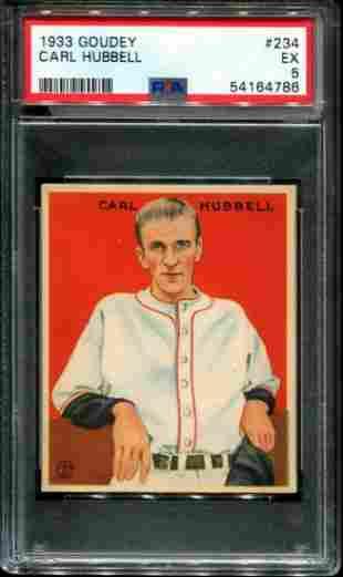 1933 Goudey Carl Hubbell PSA Graded.