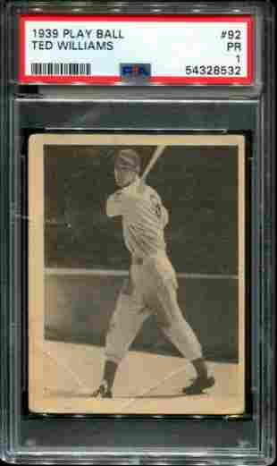 1939 Play Ball Ted Williams PSA Graded.
