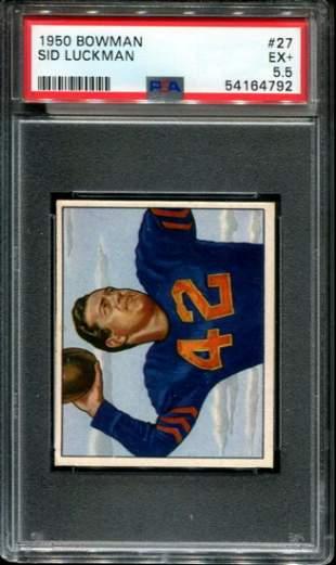 1950 Bowman Football Sid Luckman PSA Graded.